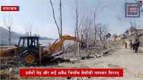 मानसबल झील को बचाने के लिए चला प्रशासन का 'पीला पंजा'... दर्जनों पेड़ और अवैध निर्माण गिराए