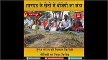 सीएम हेमंत सोरेन के खिलाफ BJP का अनोखा प्रदर्शन, खेतों में दिया धरना
